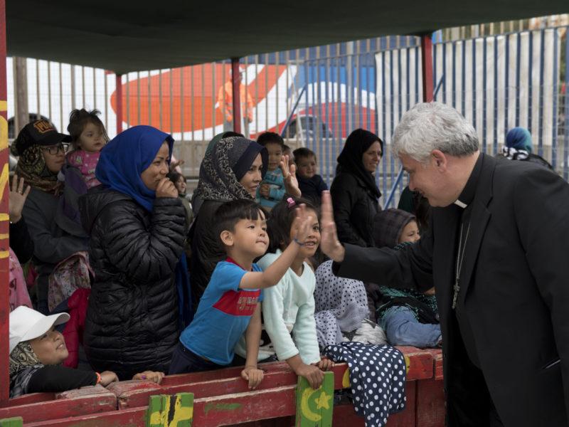 """Don't leave them alone!"" Card. Krajewski visited Lesvos refugees"